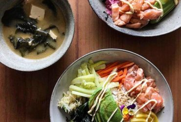 Salmon Poke Bowl with Miso Soup