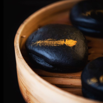 Black and gold bao buns in johannesburg